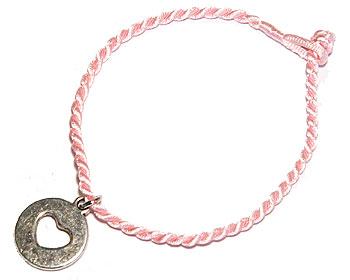 Billigt rosa trådararmband  medj ettt hjärta. Längd 16-17 cm.
