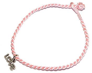 Rosa textarmband online. Längd 16-17 cm.