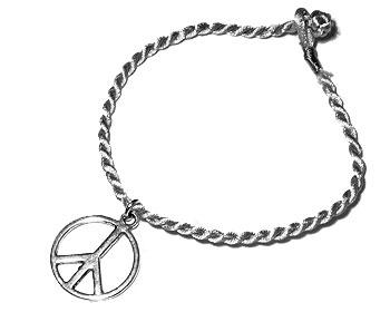Armband med fredsmärke. Längd 16-17 cm.