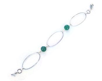 Armband i silverfärgad metall och jade.