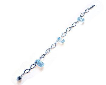 Armband i halvädelsten och silverfärgad metallkedja.