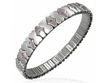 Armband i kirurgiskt stål med rosa CZ-stenar. Stretch.