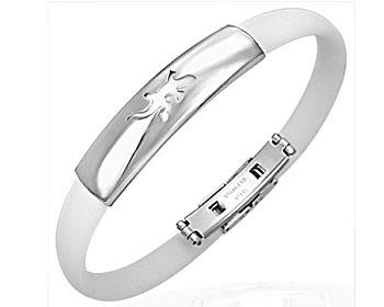Vitt armband i kirurgiskt stål och vit gummi.