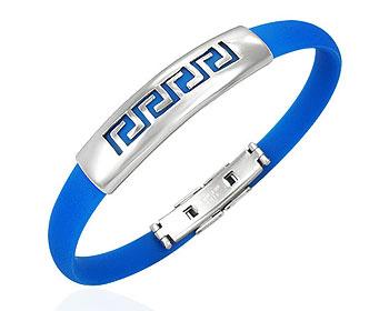 Billigt blått armband i stål och gummi.