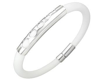 Armband på nätet i stål och gummi.