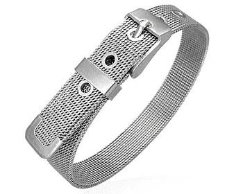 Armband i stål. Bredd cirka 1 cm.