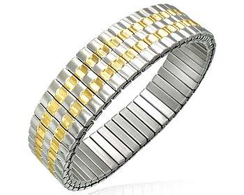 Töjbart armband i stål. Bredd cirka 15 mm, omkrets cirka 17 cm.