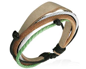 Billigt armband i läder och flerfärgade trådar.