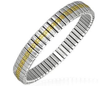 Armband i stål. Töjbart. Bredd cirka 9 mm, omkrets cirka 18 cm.
