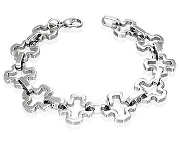 Armband i stål på nätet. Bredd cirka 16 mm, längd cirka 22 cm.
