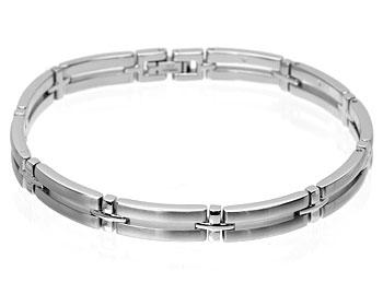 Armband online. Kirurgiskt stål. Bredd cirka 7 mm.