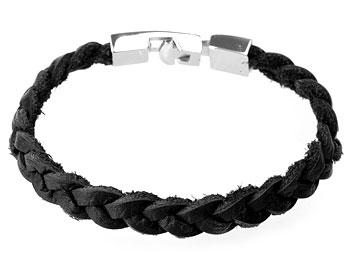Armband i läder och stål.