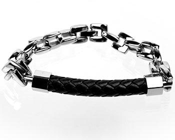 Armband i läder och stål. Tjocklek 1 cm.