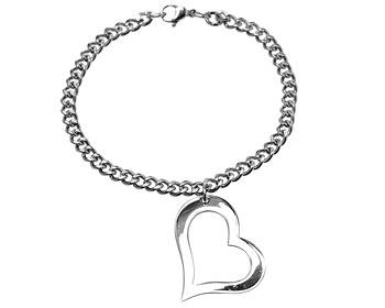 Stålarmband med hängande hjärta.