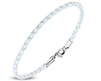 Flätat armband i stål och läder. Längd cirka 20.5 cm.