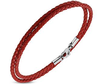 Rött flätat läderarmband/halsband. Längd cirka 45 cm.