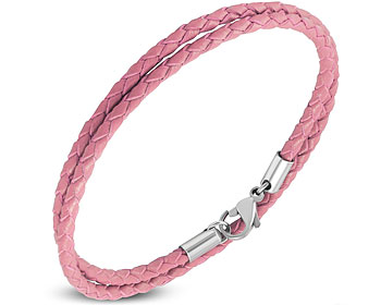 Rosa armband. Flätat i läder. Längd cirka 40 cm.