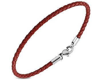 Rött armband i läder. Längd cirka 20 cm.
