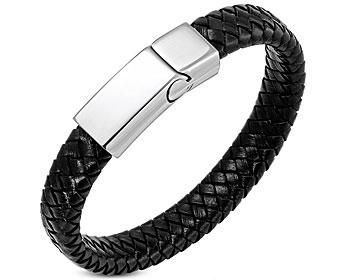 Brett läderarmband. Mått cirka 22 cm x 12 mm. Mörkbrunt/ nästan svart.