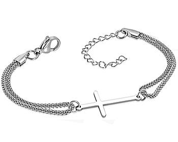 Armband i stål med kors. Korsets storlek är cirka 13x28 mm. Längd cirka 17.5 till 22 cm.
