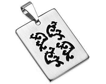 Smycke i stål. Storlek cirka 32 x 24 mm.
