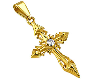 Gyllene kors i stål. 33x19 mm. Mjuk rem rekommenderas.
