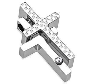Korshänge i stål. Mått cirka 24x15 mm.