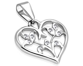 Hjärtsmycke i stål. Mått cirka 19 x 19 mm.