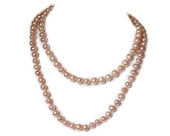 Mycket vackert pärlhalsband i rosa odlade sötvattenpärlor. Pärlstorlek ca 7-8 mm.