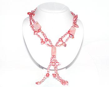 Pärlhalsband i rosa odlade sötvattenpärlor och pärlemor.