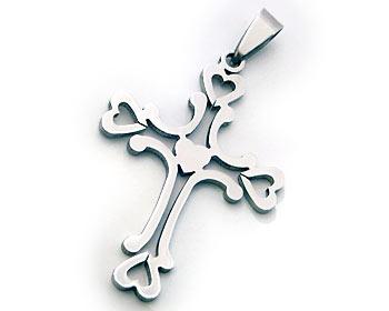 Stålhänge i form av kors. Hänget är cirka 4.5x3 cm.