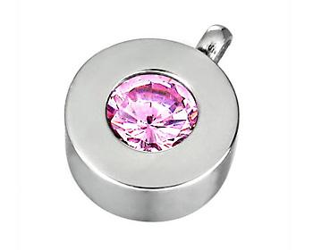 Halsband gjort i kirurgiskt stål med en rosa Cubic Zircon sten. Storlek ca 1cm. Kulkejda medföljer.