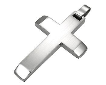 Kors i stål med kulkedja. Korsstorlek ca. 2,5x3,5 cm