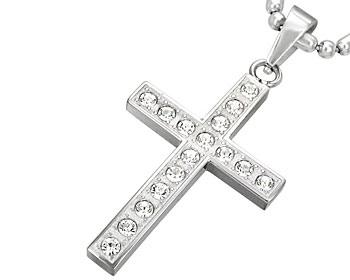 Korshänge med cz-stenar. Korset är ca. 3x2 cm. Kulkedja medföljer.