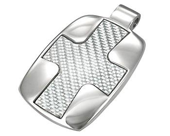 Stålhänge i kirurgiskt stål och kolfiber. Storlek ca 2,2x3,8cm.