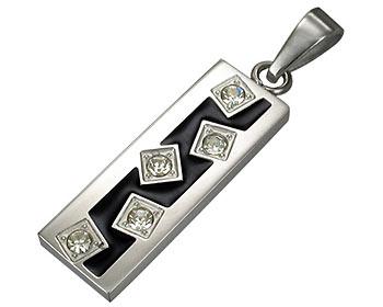 Hänge till halsband med cz stenar. Storlek cirka 2,5x0,9 cm.
