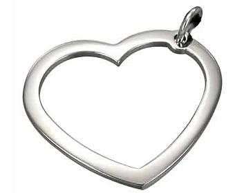 Hängande hjärta i kirurgiskt stål med kulkedja. Storlek ca. 3,5x3 cm.