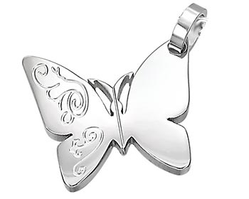 Halsband i form av en fjäril gjort i kirurgiskt stål. Kulkedja medföljer.