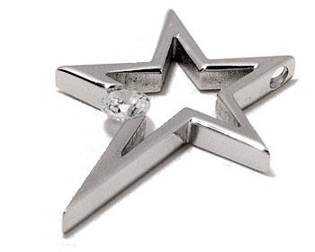 Stjärna i stål online. Mått cirka 34x25 mm. Kulkedja medföljer ej.