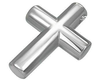 Kors i stål. Mått cirka 36 x 26 mm.