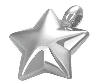 Stjärna i stål. Mått cirka 14 x 15 mm.
