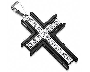 Kors i stål. Mått cirka 42x30 mm.