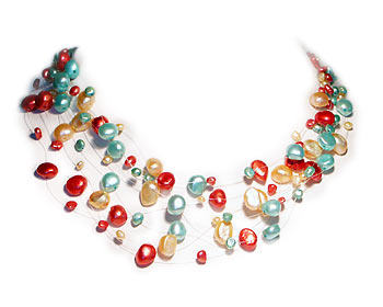 Trefärgat pärlhalsband i odlade sötvattenpärlor. Pärlhalsbandet har 9 rader svävande pärlor i två storlekar, ca 4mm och ca 7mm.