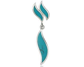 Silverhänge gjort i turkoser och silver. Storlek ca 5,0 x 1,0 cm. OBS! Utan kedja.