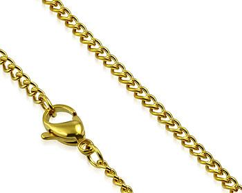 Guldfärgad stålkedja. 55 cm x 3 mm.