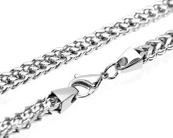 Grovt halsband i stål. Tjocklek cirka 6 mm.