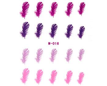 Dekal till naglar med rosa och lila fjädrar.