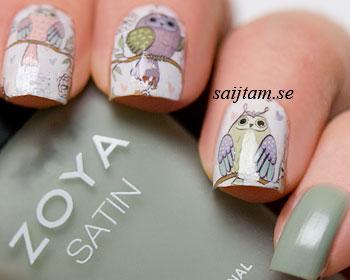 Små söta tecknade ugglor att bära på naglarna.