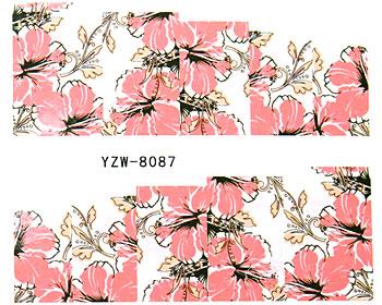 Nageldekaler med rosa hibiskus på en vit bakgrund.