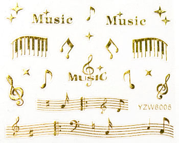 Guldfärgade musikstickers som är självhäftande. Används i nail art. Avsluta manikyren med ett topplack.